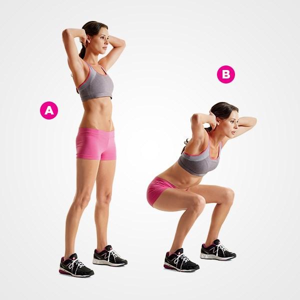 Đứng lên ngồi xuống từ 10 - 15 lần liên tục bạn sẽ có phần cơ mông và bụng săn chắc